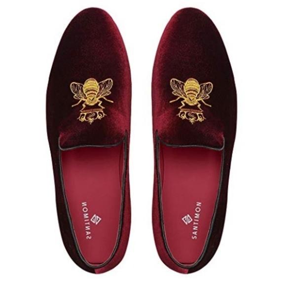 Santimon Red Velvet Loafers Brand New